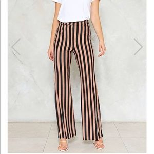 Nasty gal fit and flare striped pants size 0/XS